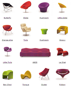Affiches de chaises du designer Pierre Paulin Auteur de l'affiche inconnu. pour illustrer les propos de Bonn'O design d'espaces : rénovation, aménagement bureaux et appartement en Savoie